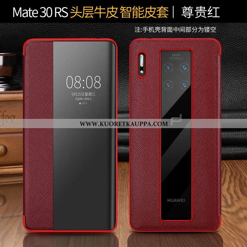 Kuori Huawei Mate 30 Rs, Kuoret Huawei Mate 30 Rs, Kotelo Huawei Mate 30 Rs Suojaus Nahkakuori Punai