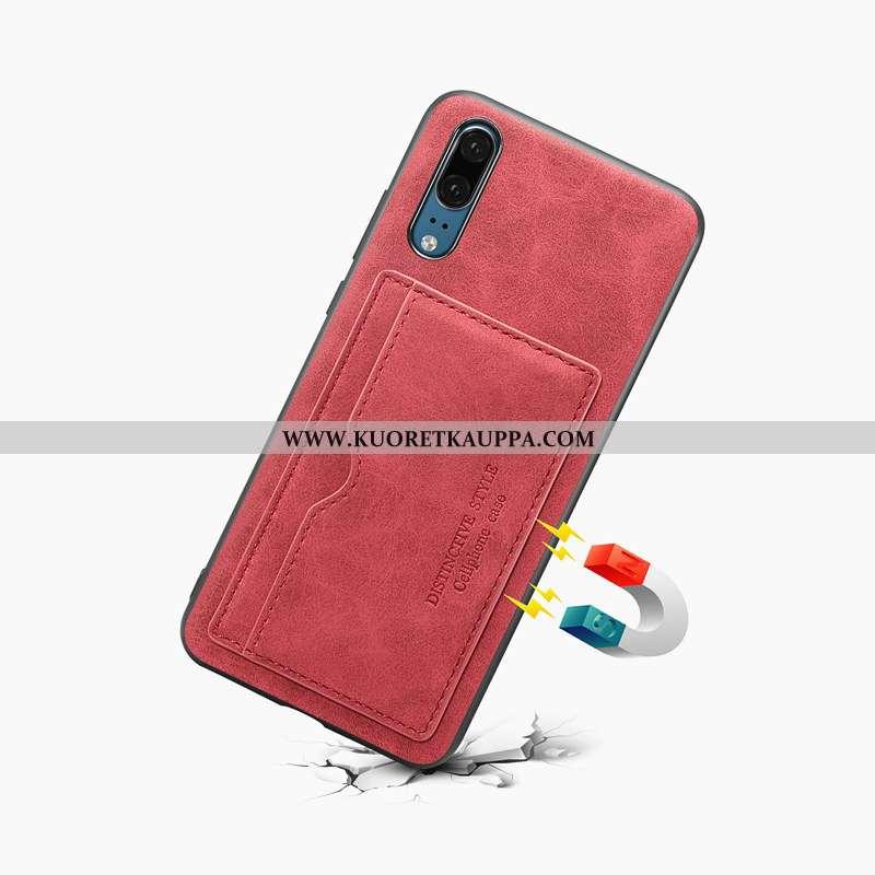 Kuori Huawei P20, Kuoret Huawei P20, Kotelo Huawei P20 Nahkakuori Suojaus Puhelimen Punainen