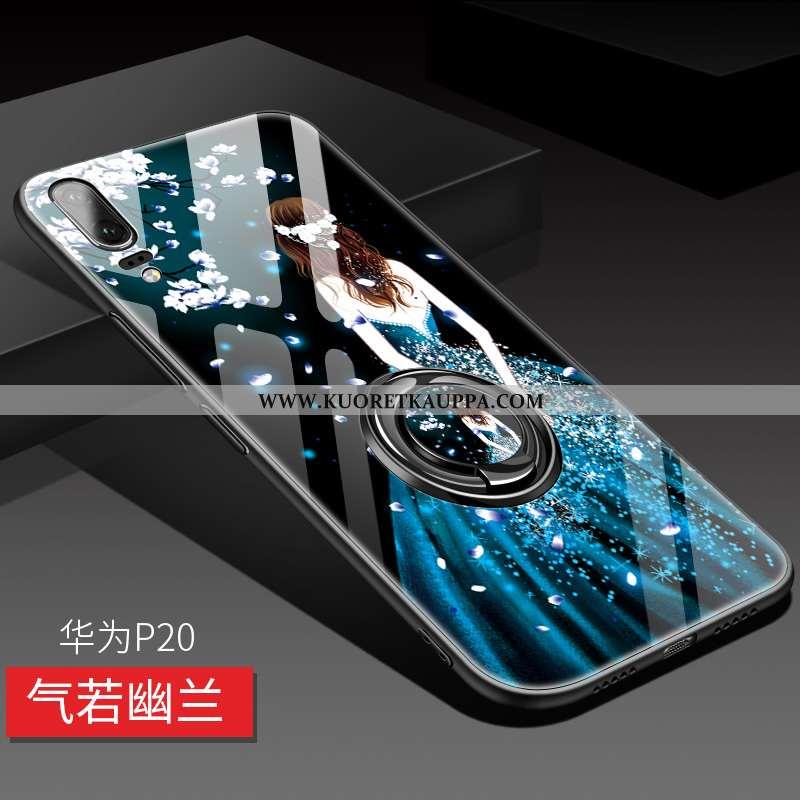 Kuori Huawei P20, Kuoret Huawei P20, Kotelo Huawei P20 Suojaus Lasi Luova Net Red Tummansininen Tumm