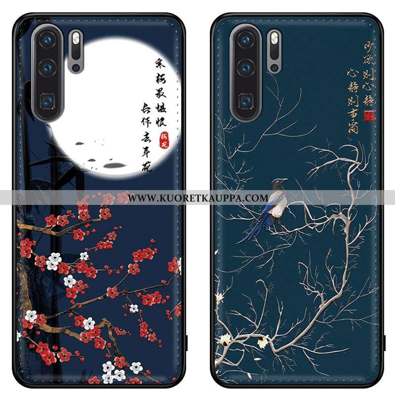 Kuori Huawei P20 Pro, Kuoret Huawei P20 Pro, Kotelo Huawei P20 Pro Silikoni Suojaus Aito Nahka Sinin