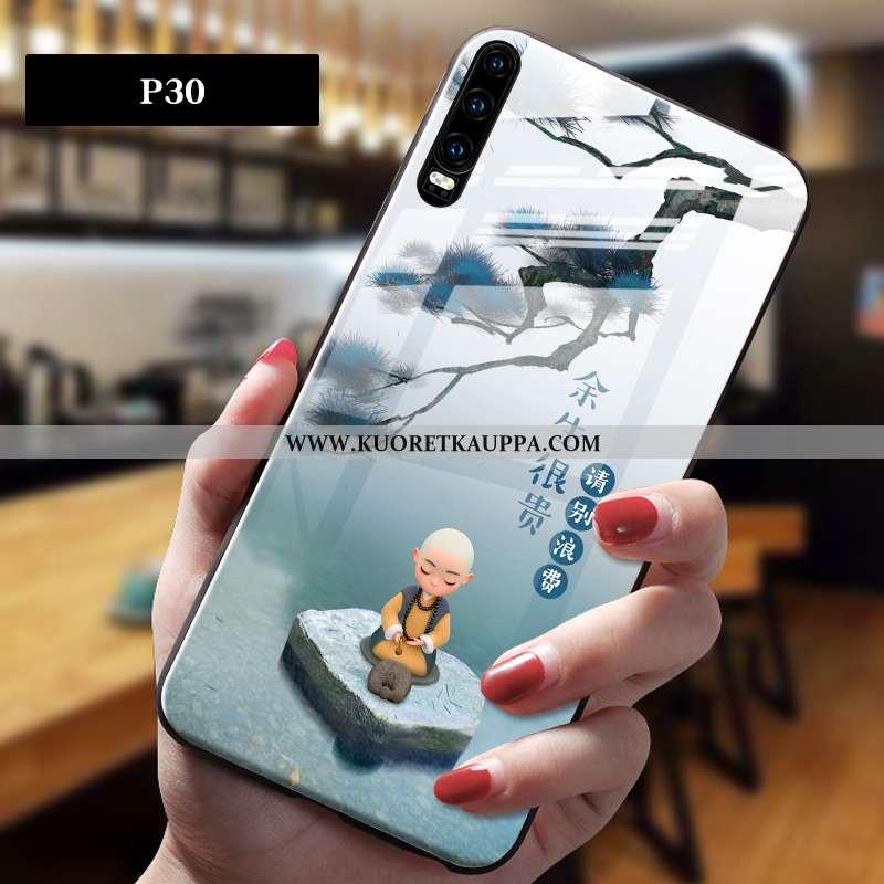 Kuori Huawei P30, Kuoret Huawei P30, Kotelo Huawei P30 Lasi Persoonallisuus Kiinalainen Tyyli Harmaa