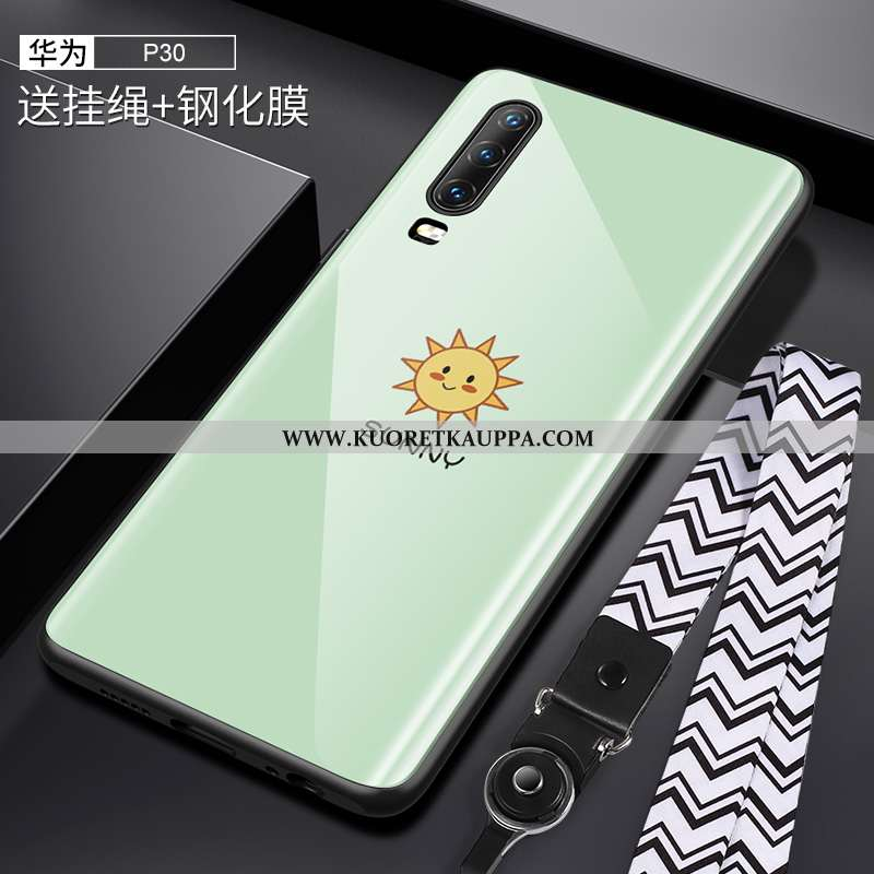 Kuori Huawei P30, Kuoret Huawei P30, Kotelo Huawei P30 Ripustettava Kaula Suuntaus Lasi Net Red Raka