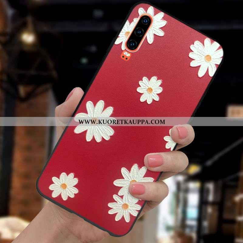 Kuori Huawei P30, Kuoret Huawei P30, Kotelo Huawei P30 Valo Silikoni Suojaus Uusi Punainen