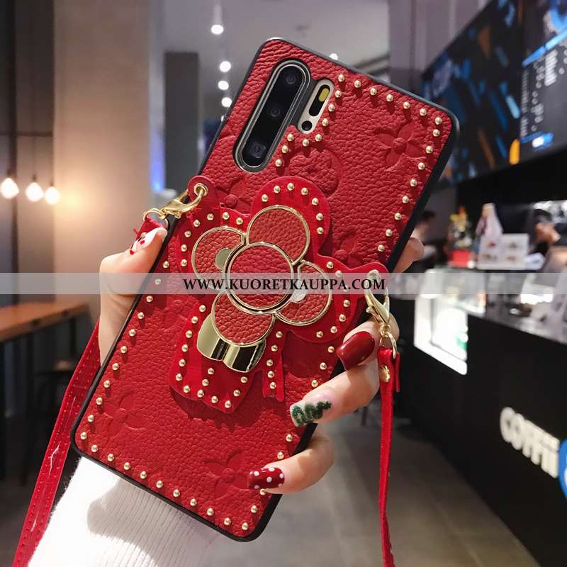 Kuori Huawei P30 Pro, Kuoret Huawei P30 Pro, Kotelo Huawei P30 Pro Luova Aito Nahka Net Red Nahkakuo