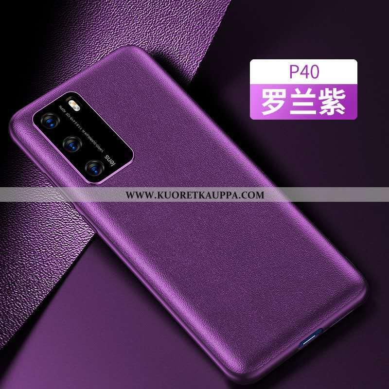 Kuori Huawei P40, Kuoret Huawei P40, Kotelo Huawei P40 Nahka Murtumaton Violetti Puhelimen