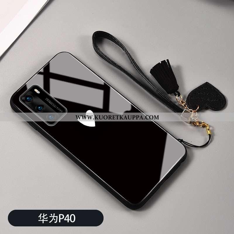 Kuori Huawei P40, Kuoret Huawei P40, Kotelo Huawei P40 Silikoni Suojaus Musta Lasi Rakkaus Mustat