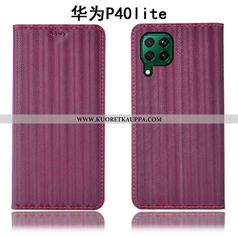 Kuori Huawei P40 Lite, Kuoret Huawei P40 Lite, Kotelo Huawei P40 Lite Suojaus Nahkakuori Viini Punai