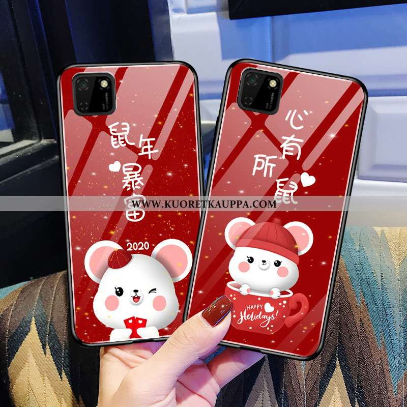 Kuori Huawei Y5p, Kuoret Huawei Y5p, Kotelo Huawei Y5p Pehmeä Neste Valo Pieni Peili Kova Punainen