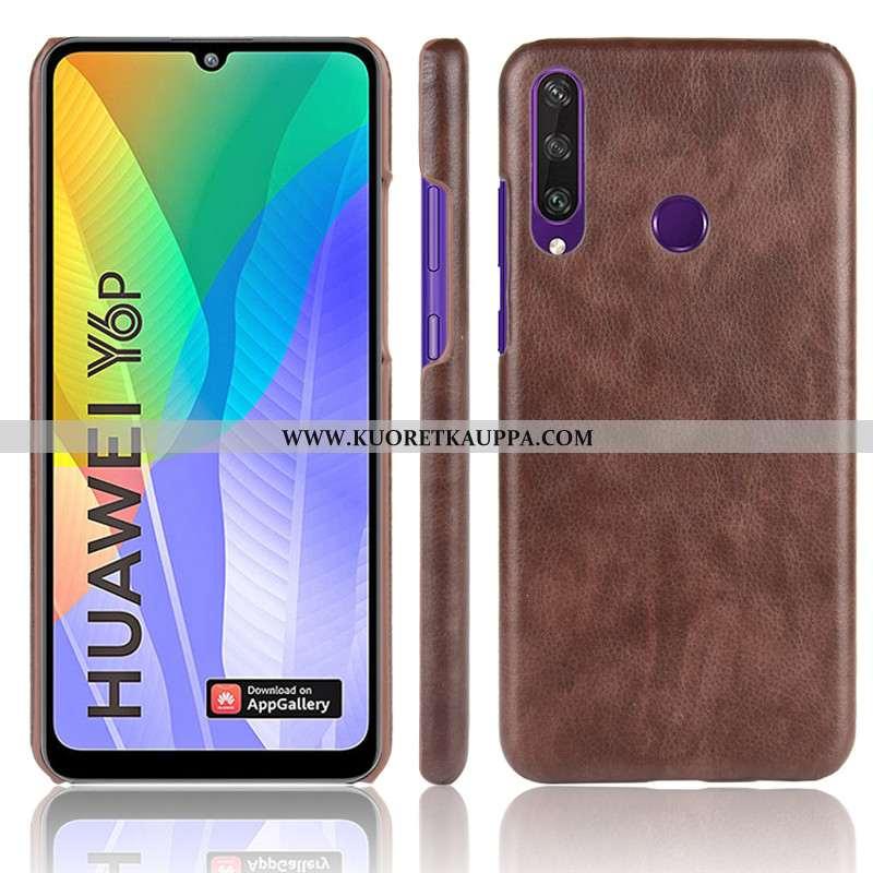 Kuori Huawei Y6p, Kuoret Huawei Y6p, Kotelo Huawei Y6p Kukkakuvio Suojaus Kova Puhelimen Ruskea
