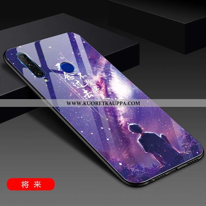 Kuori Huawei Y6p, Kuoret Huawei Y6p, Kotelo Huawei Y6p Lasi Suuntaus Violetti Net Red Valo