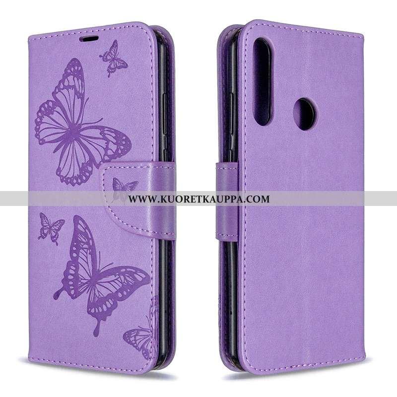 Kuori Huawei Y6p, Kuoret Huawei Y6p, Kotelo Huawei Y6p Nahka Suojaus Kohokuviointi Perhonen Violetti