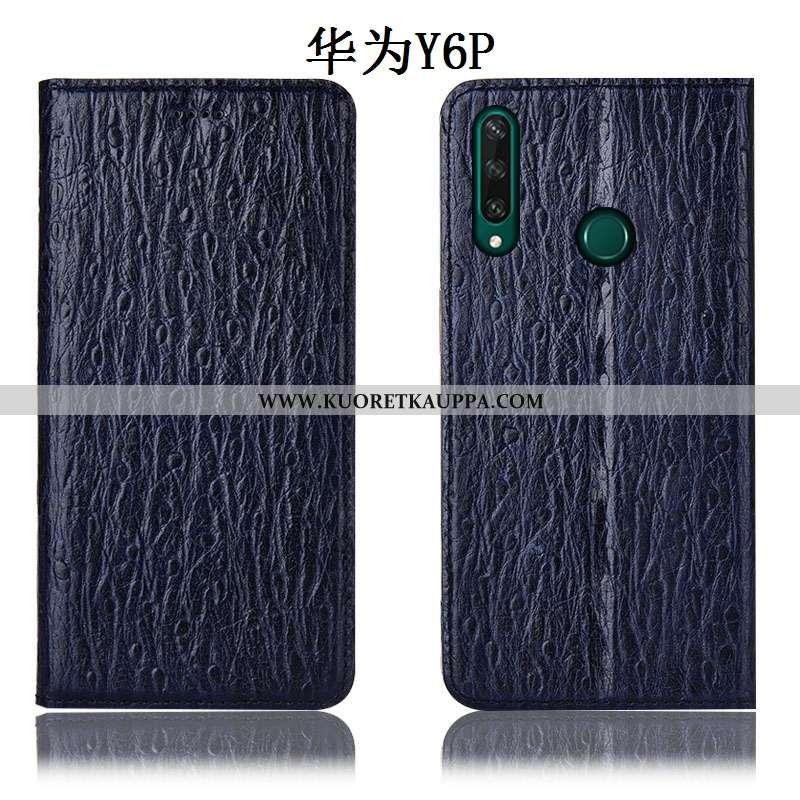Kuori Huawei Y6p, Kuoret Huawei Y6p, Kotelo Huawei Y6p Nahkakuori Suojaus Lintu Sininen