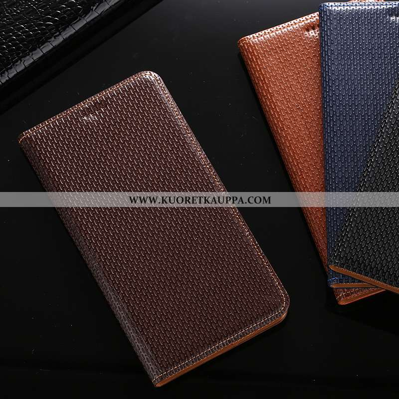 Kuori Huawei Y7 2020, Kuoret Huawei Y7 2020, Kotelo Huawei Y7 2020 Aito Nahka Kukkakuvio 2020 Ruskea