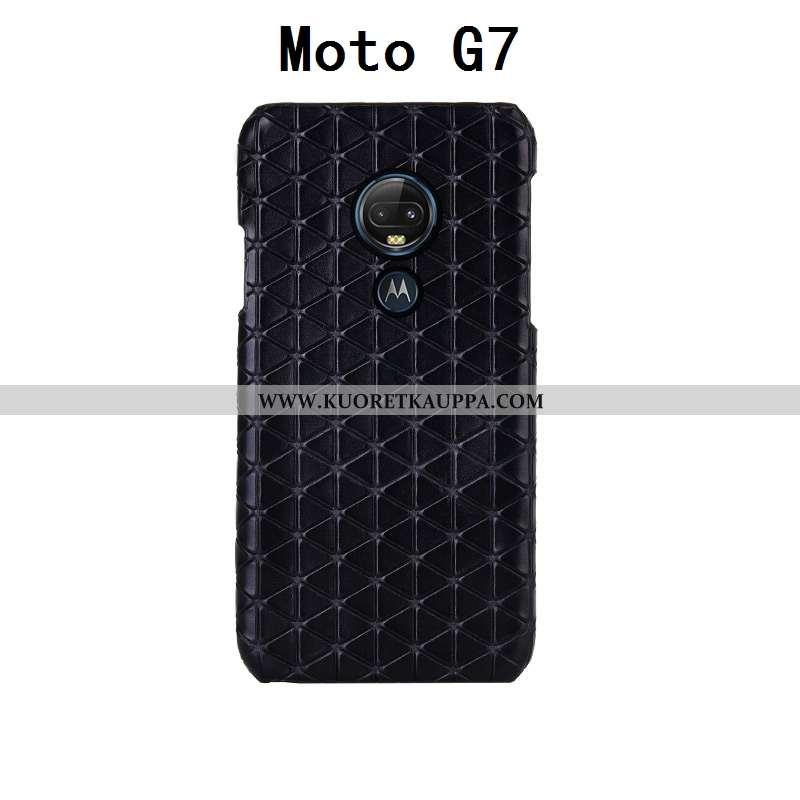 Kuori Moto G7, Kuoret Moto G7, Kotelo Moto G7 Tila Ylellisyys Lehmä Takakansi Mustat