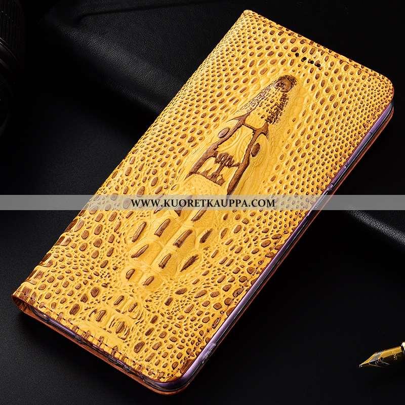 Kuori Nokia 1 Plus, Kuoret Nokia 1 Plus, Kotelo Nokia 1 Plus Suojaus Aito Nahka Keltainen Puhelimen