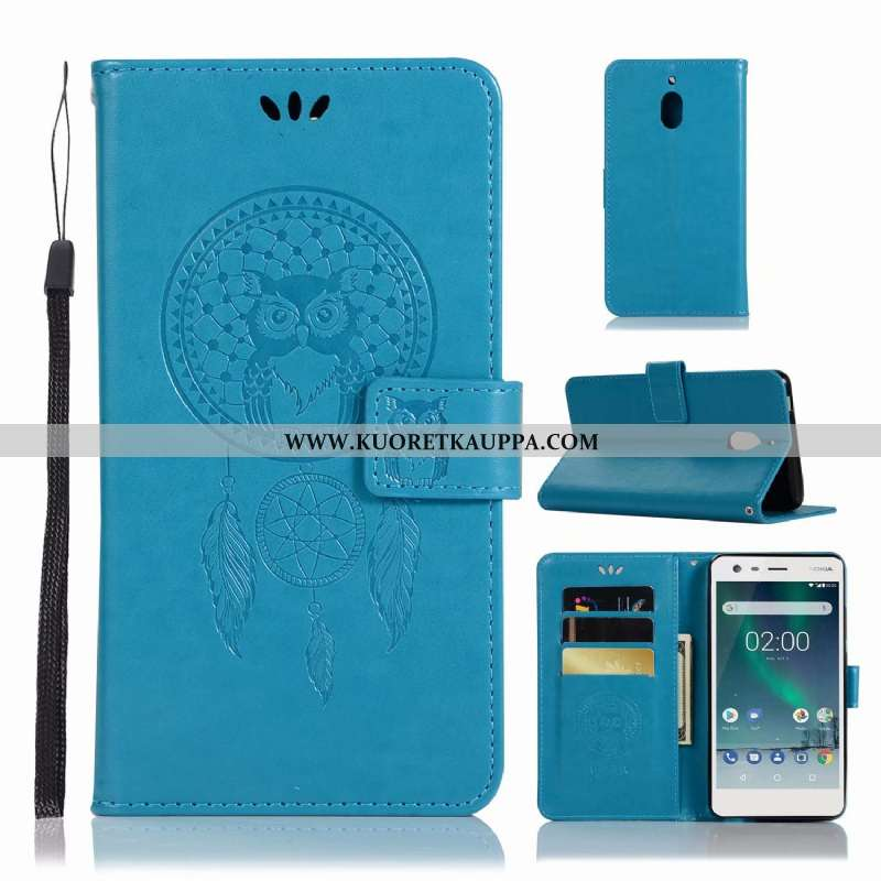 Kuori Nokia 2.1, Kuoret Nokia 2.1, Kotelo Nokia 2.1 Suuntaus Nahkakuori Sininen Puhelimen