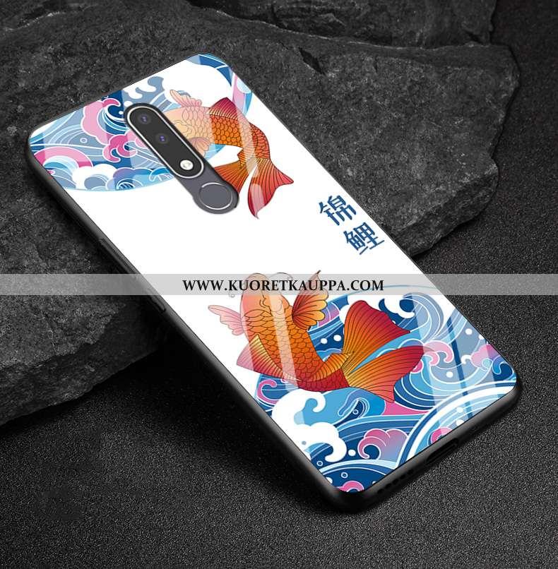 Kuori Nokia 3.1 Plus, Kuoret Nokia 3.1 Plus, Kotelo Nokia 3.1 Plus Pesty Suede Lasi Puhelimen Valkoi