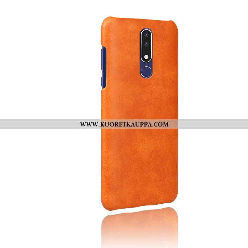 Kuori Nokia 3.1 Plus, Kuoret Nokia 3.1 Plus, Kotelo Nokia 3.1 Plus Suojaus Nahka Oranssi