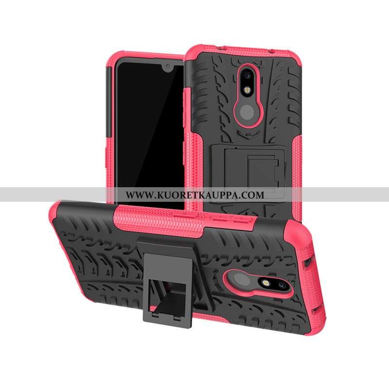Kuori Nokia 3.2, Kuoret Nokia 3.2, Kotelo Nokia 3.2 Suojaus Punainen Tuki Murtumaton Pinkki