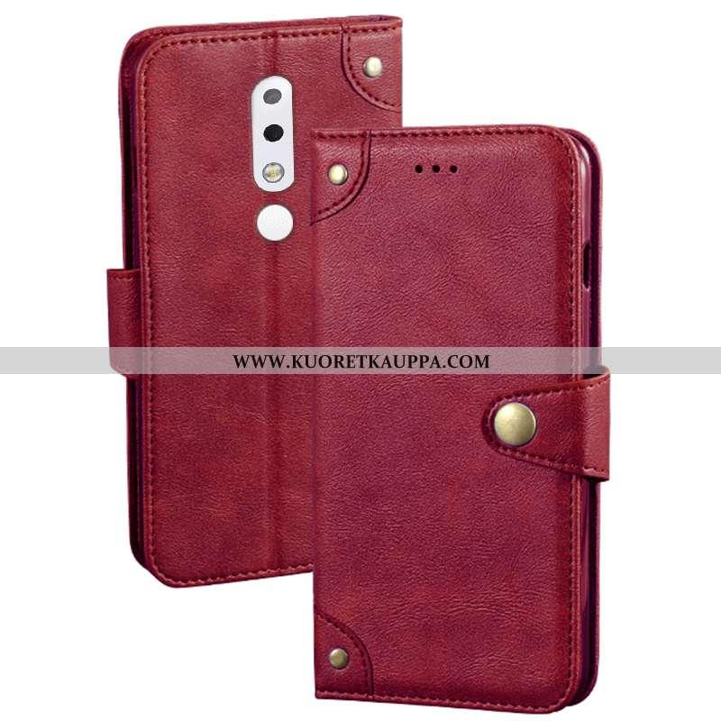 Kuori Nokia 5.1 Plus, Kuoret Nokia 5.1 Plus, Kotelo Nokia 5.1 Plus Nahkakuori Luova Suojaus Punainen