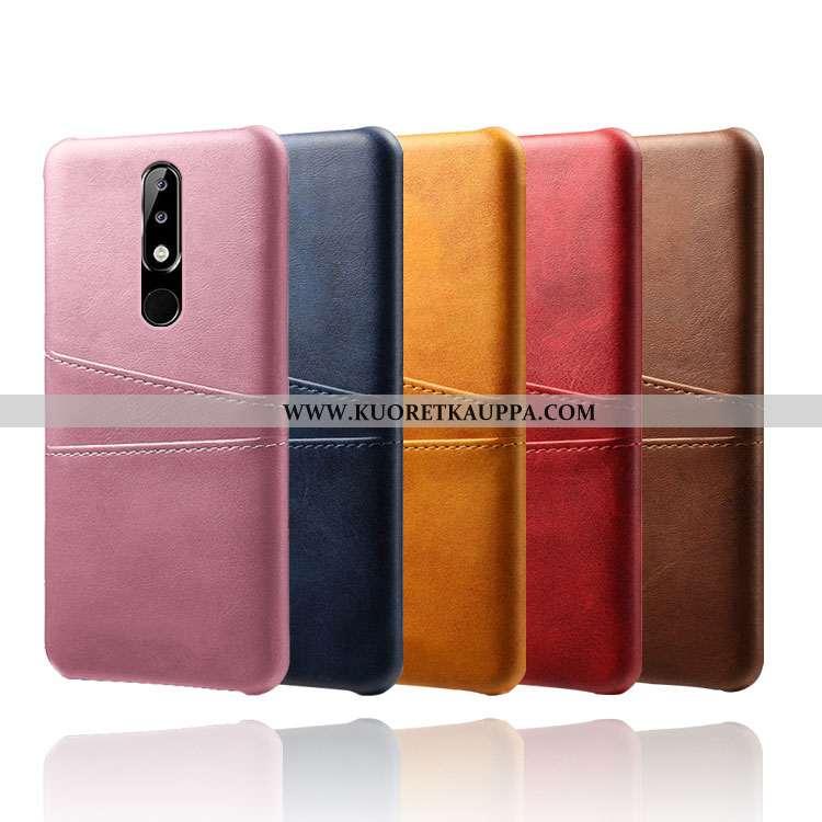 Kuori Nokia 5.1 Plus, Kuoret Nokia 5.1 Plus, Kotelo Nokia 5.1 Plus Suojaus Nahka Murtumaton Pinkki