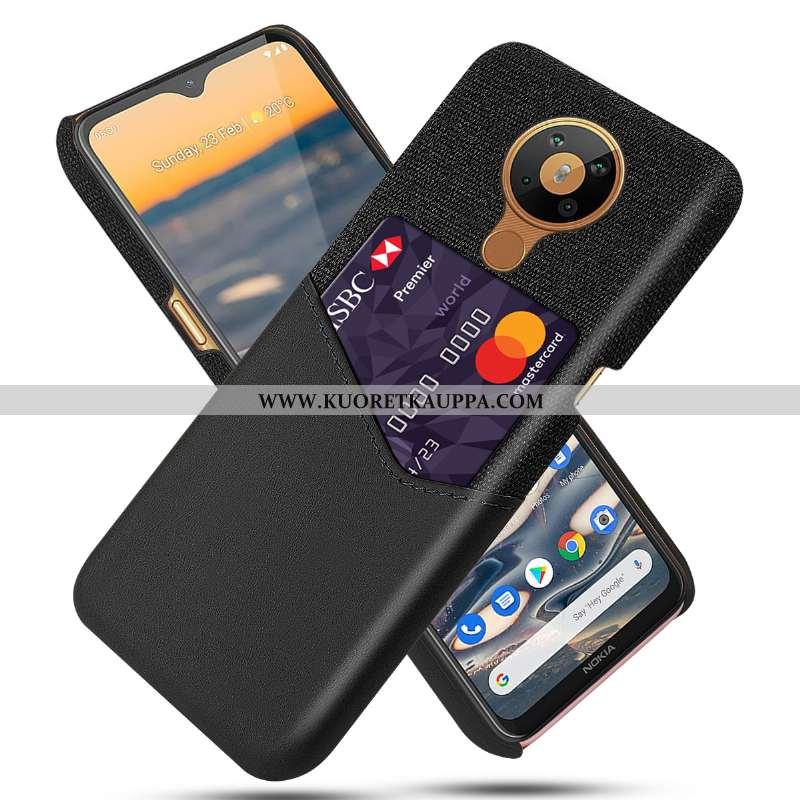 Kuori Nokia 5.3, Kuoret Nokia 5.3, Kotelo Nokia 5.3 Nahka Suojaus Kortti Musta Mustat