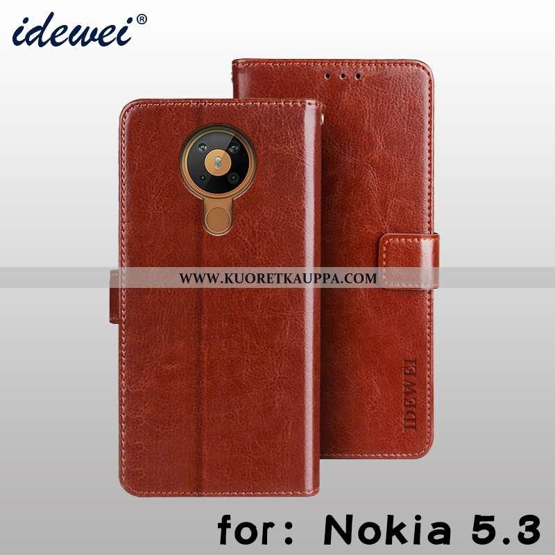 Kuori Nokia 5.3, Kuoret Nokia 5.3, Kotelo Nokia 5.3 Nahkakuori Salkku Puhelimen Ruskea