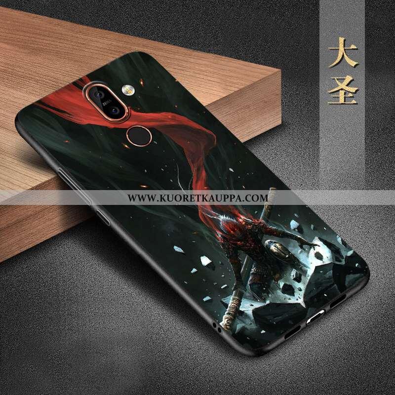Kuori Nokia 7 Plus, Kuoret Nokia 7 Plus, Kotelo Nokia 7 Plus Silikoni Suojaus Musta All Inclusive Mu