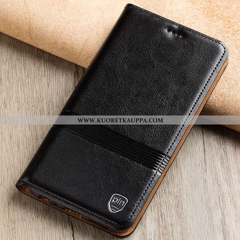 Kuori Nokia 7 Plus, Kuoret Nokia 7 Plus, Kotelo Nokia 7 Plus Suojaus Aito Nahka Murtumaton Musta Mus
