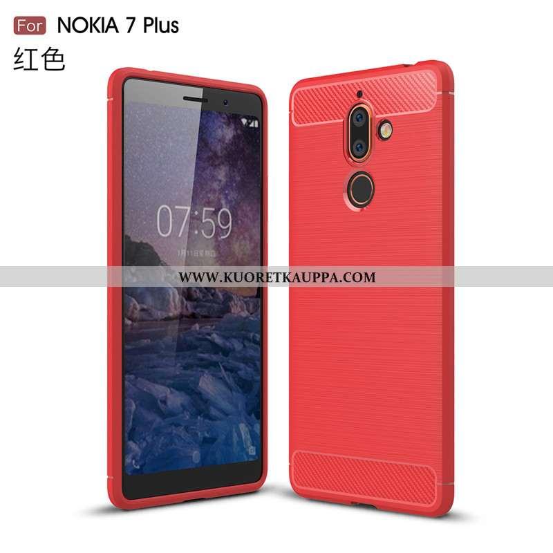 Kuori Nokia 7 Plus, Kuoret Nokia 7 Plus, Kotelo Nokia 7 Plus Suojaus Tila Pehmeä Neste Punainen Puhe