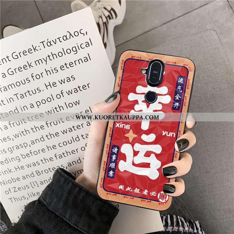Kuori Nokia 8.1, Kuoret Nokia 8.1, Kotelo Nokia 8.1 Kukkakuvio Timantti Punainen