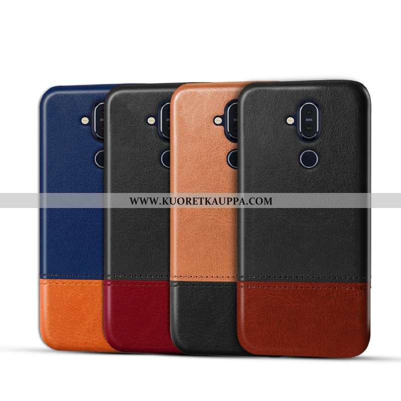 Kuori Nokia 8.1, Kuoret Nokia 8.1, Kotelo Nokia 8.1 Nahka Suojaus Puhelimen Murtumaton Ruskea