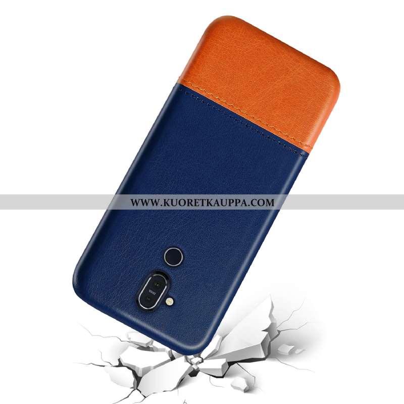 Kuori Nokia 8.1, Kuoret Nokia 8.1, Kotelo Nokia 8.1 Suojaus Persoonallisuus Nahka Murtumaton Sininen