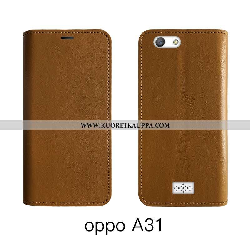 Kuori Oppo A31, Kuoret Oppo A31, Kotelo Oppo A31 Nahka Suojaus Puhelimen Murtumaton Ruskea