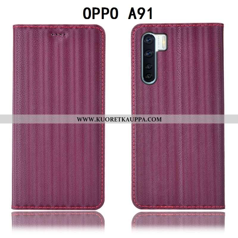 Kuori Oppo A91, Kuoret Oppo A91, Kotelo Oppo A91 Suojaus Nahkakuori Violetti