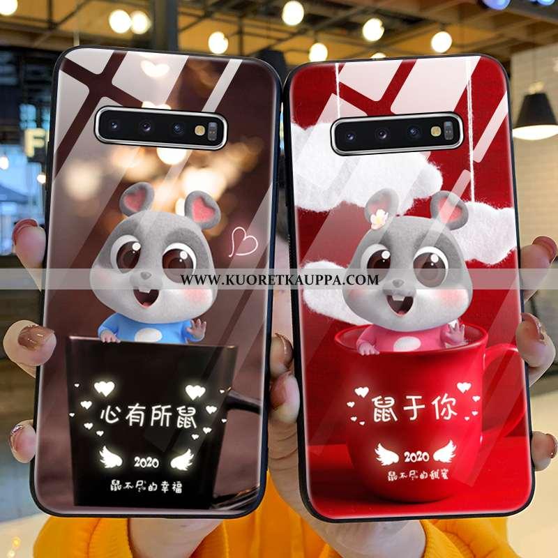 Kuori Samsung Galaxy S10+, Kuoret Samsung Galaxy S10+, Kotelo Samsung Galaxy S10+ Lasi Suojaus Punai