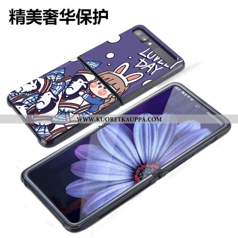 Kuori Samsung Z Flip, Kuoret Samsung Z Flip, Kotelo Samsung Z Flip Kukkakuvio Suojaus Sininen Nahka