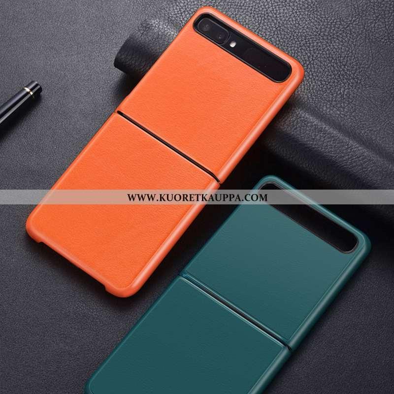 Kuori Samsung Z Flip, Kuoret Samsung Z Flip, Kotelo Samsung Z Flip Nahka Suojaus Yksinkertainen Oran