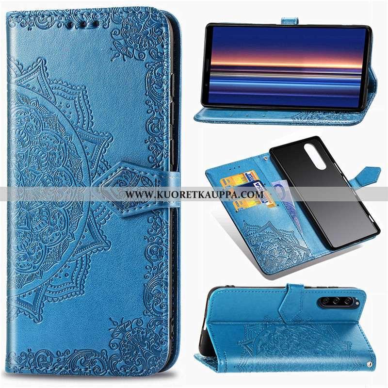 Kuori Sony Xperia 5, Kuoret Sony Xperia 5, Kotelo Sony Xperia 5 Nahka Suojaus Kukka Puhelimen Sinine