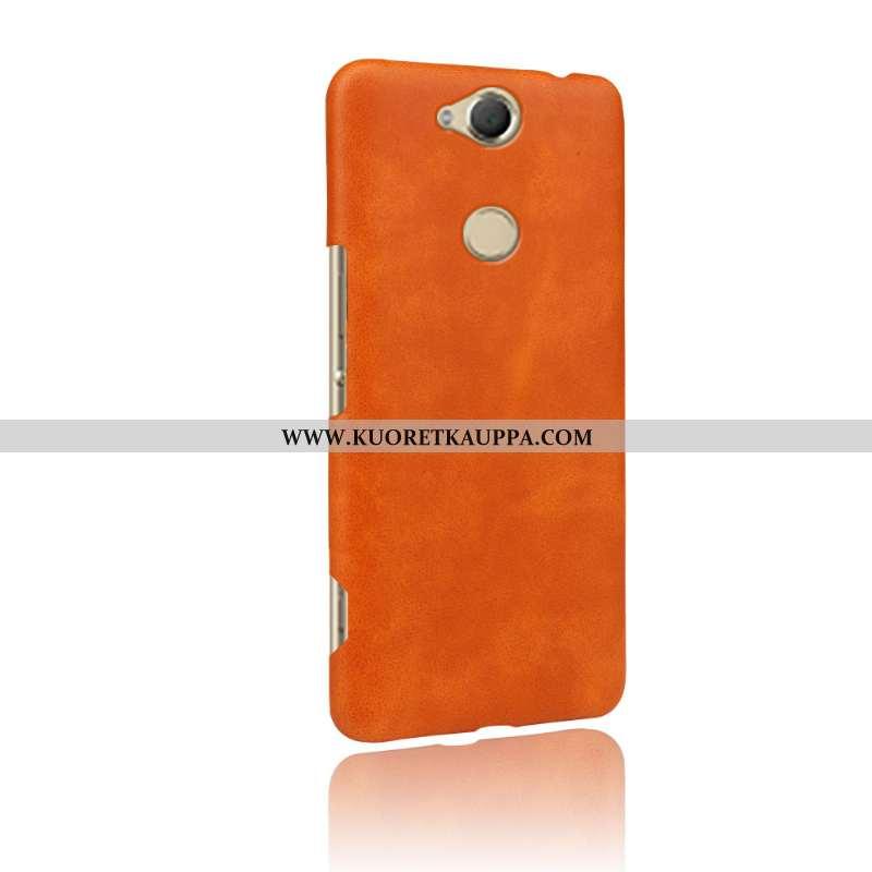 Kuori Sony Xperia Xa2, Kuoret Sony Xperia Xa2, Kotelo Sony Xperia Xa2 Nahkakuori Kova Oranssi Puheli
