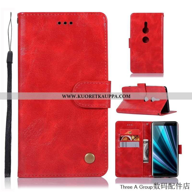 Kuori Sony Xperia Xz3, Kuoret Sony Xperia Xz3, Kotelo Sony Xperia Xz3 Suojaus Nahkakuori Punainen Pu