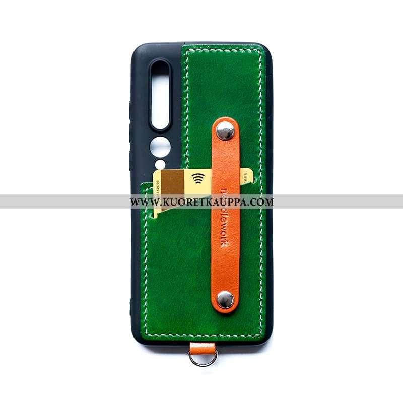 Kuori Xiaomi Mi 10, Kuoret Xiaomi Mi 10, Kotelo Xiaomi Mi 10 Nahka Puhelimen Kehys Vihreä