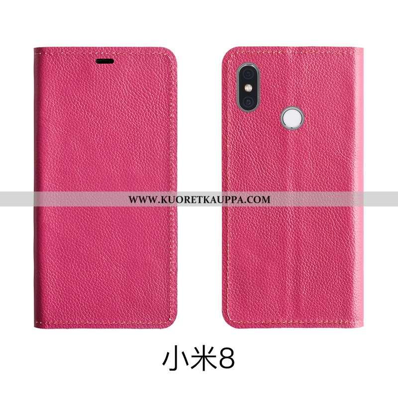 Kuori Xiaomi Mi 8, Kuoret Xiaomi Mi 8, Kotelo Xiaomi Mi 8 Aito Nahka Nahka Suojauskuori Punainen Pin