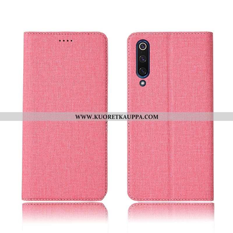 Kuori Xiaomi Mi 9, Kuoret Xiaomi Mi 9, Kotelo Xiaomi Mi 9 Pellava Nahkakuori Malli Silikoni Pinkki