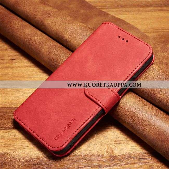 Kuori Xiaomi Mi Note 10, Kuoret Xiaomi Mi Note 10, Kotelo Xiaomi Mi Note 10 Aito Nahka Suojaus Punai