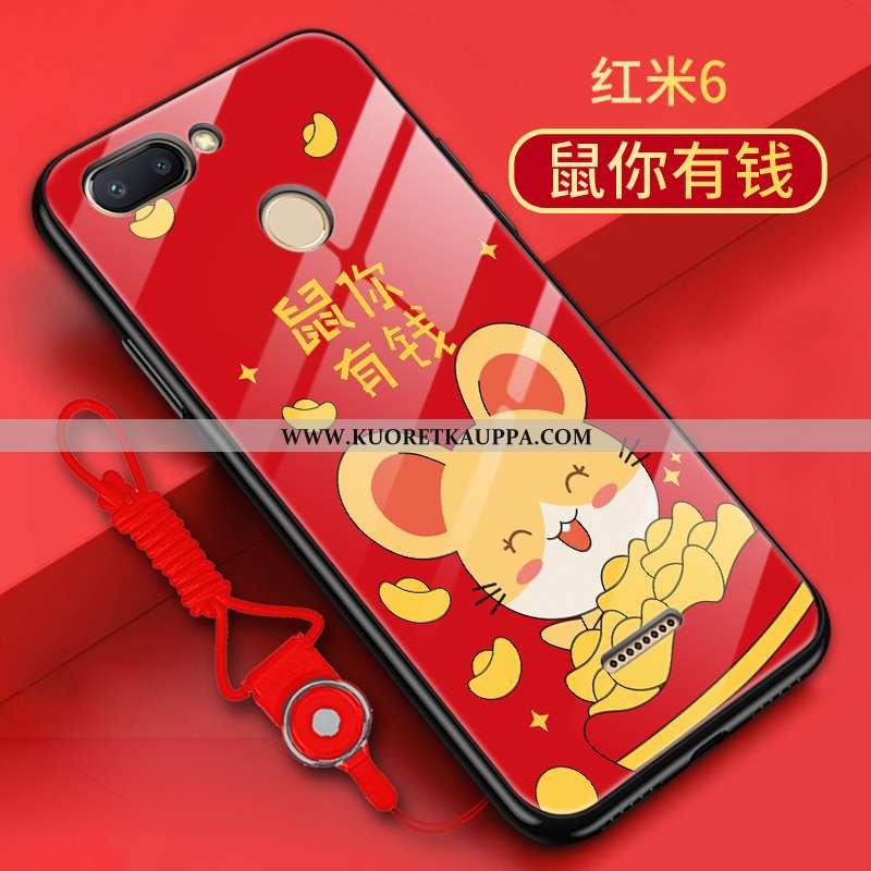 Kuori Xiaomi Redmi 6, Kuoret Xiaomi Redmi 6, Kotelo Xiaomi Redmi 6 Silikoni Lasi Kova Murtumaton Pun