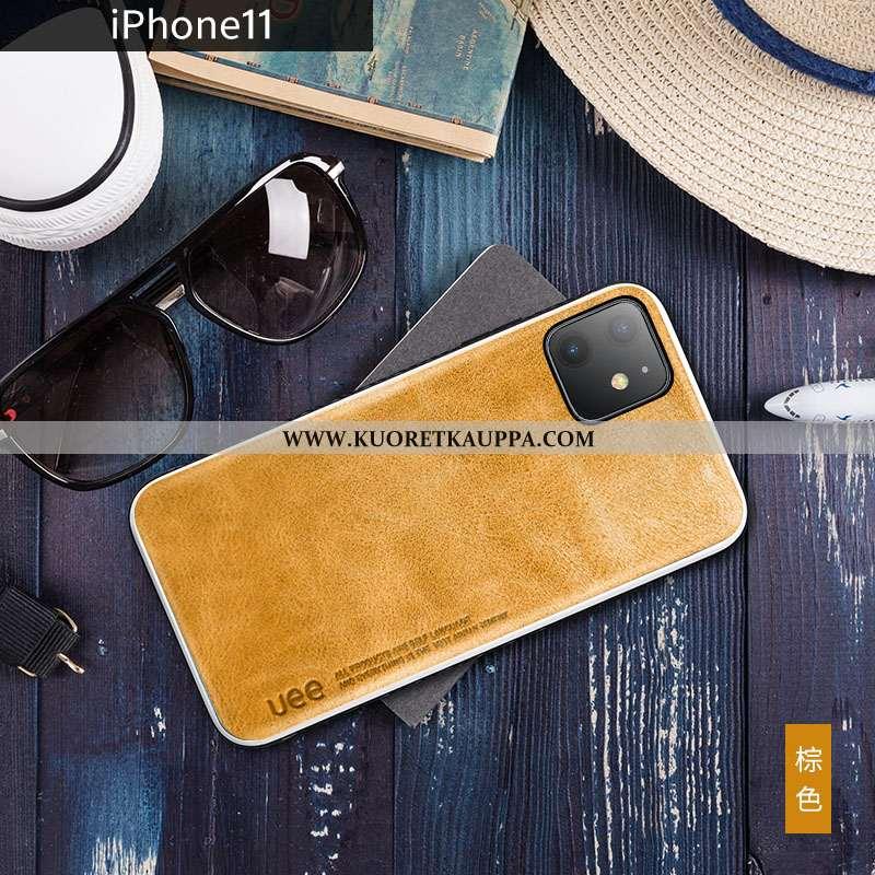 Kuori iPhone 11, Kuoret iPhone 11, Kotelo iPhone 11 Aito Nahka Nahka Suuntaus Net Red Keltaiset