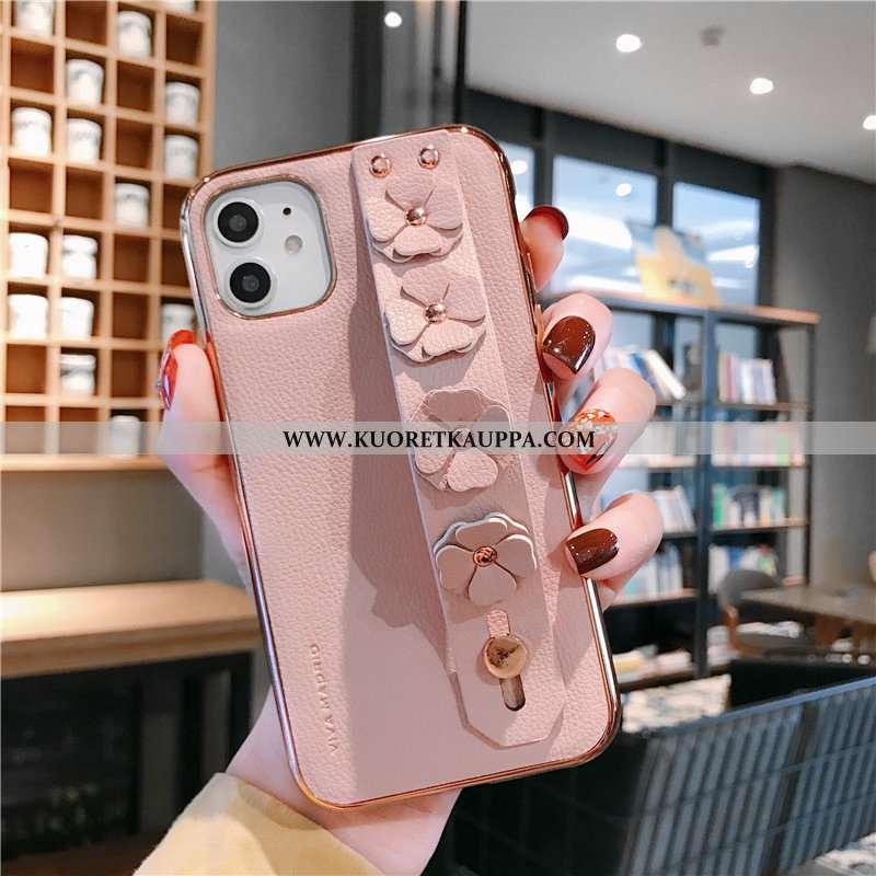 Kuori iPhone 11, Kuoret iPhone 11, Kotelo iPhone 11 Aito Nahka Valo Suojaus Kukka Pinnoitus Pinkki