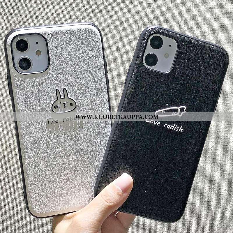Kuori iPhone 11, Kuoret iPhone 11, Kotelo iPhone 11 Pesty Suede Kohokuviointi Kova Musta Tuuli Musta