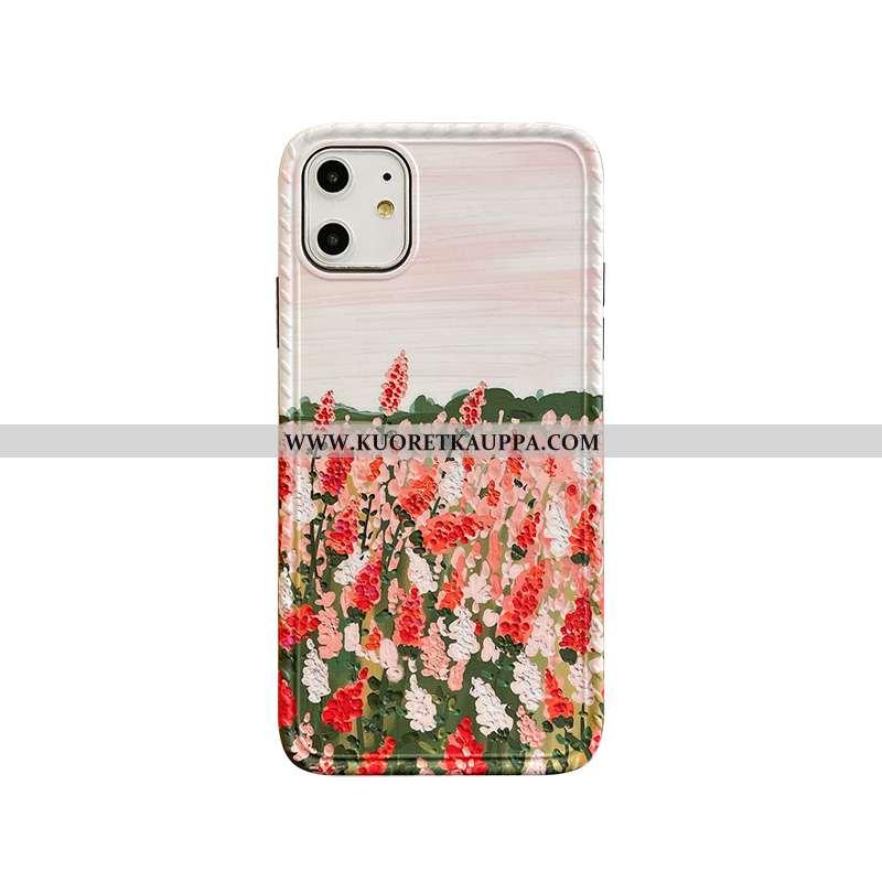 Kuori iPhone 11, Kuoret iPhone 11, Kotelo iPhone 11 Vuosikerta Silikoni Kukka Puhelimen Pinkki